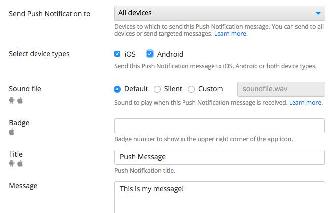 Push Notifications console